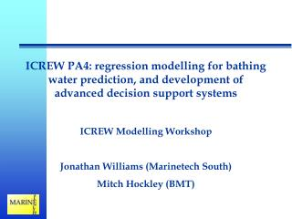 ICREW Modelling Workshop Jonathan Williams (Marinetech South) Mitch Hockley (BMT)