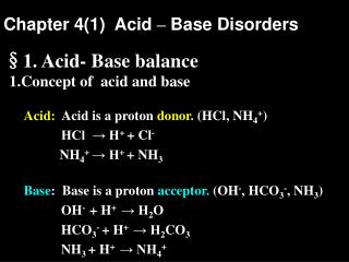 Chapter 4(1)  Acid  –  Base Disorders