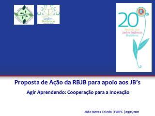 Proposta de Ação da RBJB para apoio aos JB's  Agir Aprendendo: Cooperação para a Inovação