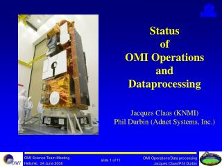 Status of  OMI Operations and Dataprocessing