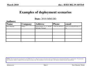 Examples of deployment scenarios