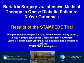 Bariatric Surgery vs. Intensive Medical Therapy in Obese Diabetic Patients:  3-Year Outcome s