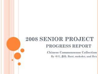 2008 SENIOR PROJECT  PROGRESS REPORT