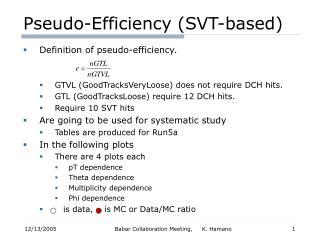 Pseudo-Efficiency (SVT-based)