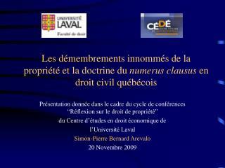 """Présentation donnée dans le cadre du cycle de conférences """"Réflexion sur le droit de propriété"""""""