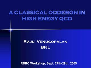 A CLASSICAL ODDERON IN HIGH ENEGY QCD