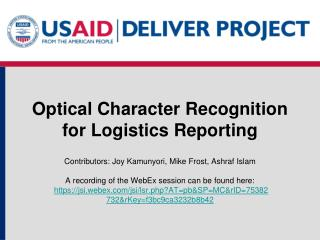 Optical Character Recognition for Logistics Reporting