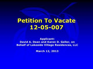 Petition To Vacate  12-05-007