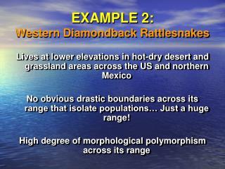 EXAMPLE 2: Western Diamondback Rattlesnakes