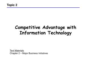 Competitive Advantage with Information Technology