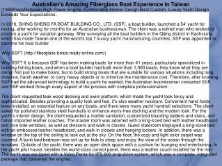 Australian's Amazing Fiberglass Boat Experience In Taiwan