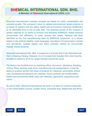 SHE MICAL INTERNATIONAL SDN. BHD. A Member of  She mical International (USA) LLC.