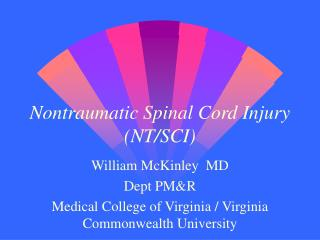 Nontraumatic Spinal Cord Injury NT