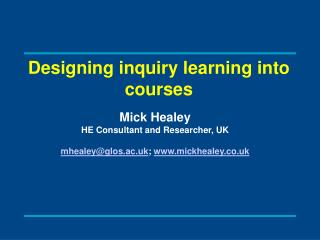 Designing inquiry learning into courses
