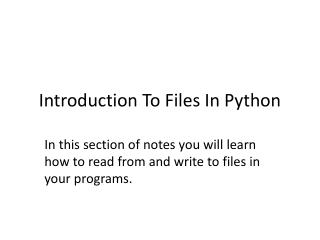 Introduction To Files In Python