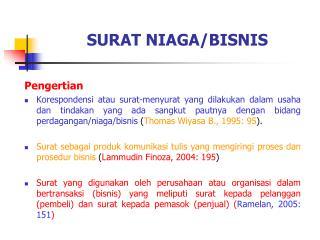 SURAT NIAGA/BISNIS