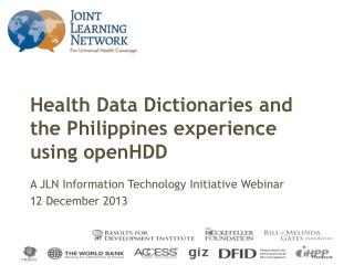 Health Data Dictionaries and the Philippines experience using  openHDD