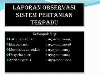 Laporan Observasi Sistem Pertanian Terpadu