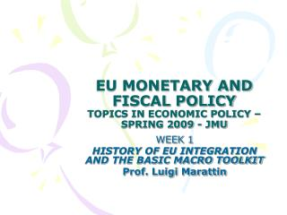 EU MONETARY AND FISCAL POLICY TOPICS IN ECONOMIC POLICY – SPRING 2009 - JMU