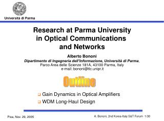 Research at Parma University in Optical Communications  and Networks