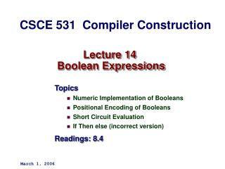 Lecture 14  Boolean Expressions