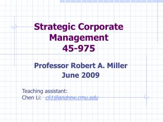 Strategic Corporate Management 45-975