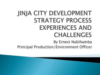 JINJA CITY DEVELOPMENT  STRATEGY PROCESS EXPERIENCES AND CHALLENGES