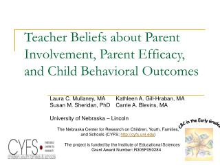 Teacher Beliefs about Parent Involvement, Parent Efficacy, and Child Behavioral Outcomes