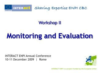 Workshop II Monitoring and Evaluation