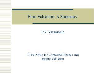 Firm Valuation: A Summary