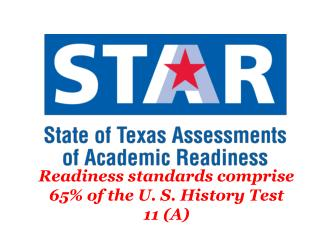 Readiness standards comprise 65% of the U. S. History Test 11 (A)