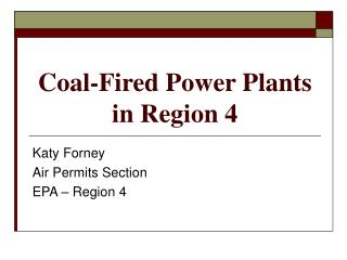 Coal-Fired Power Plants  in Region 4