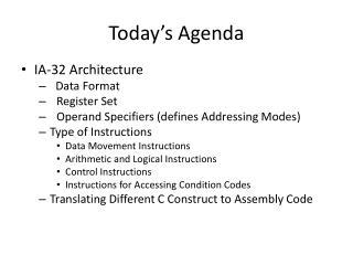 Today�s Agenda