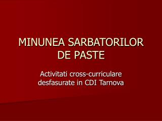 MINUNEA SARBATORILOR DE PASTE