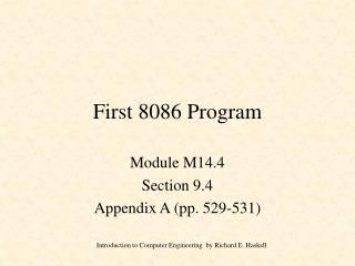 First 8086 Program