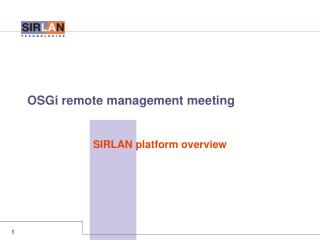 OSGi remote management meeting