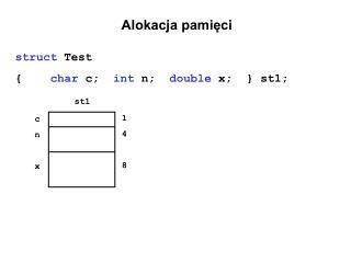 Alokacja pamięci struct  Test { char  c;   int  n;   double  x;  } st1;
