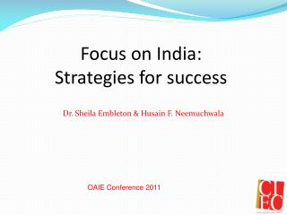 Focus on India:  Strategies for success