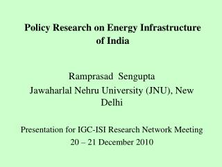 Policy Research on Energy Infrastructure of India