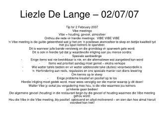 Liezle De Lange – 02/07/07