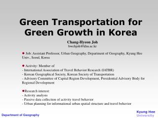 Green Transportation for Green Growth in Korea