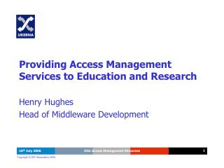 Providing Access Management Services to Education and Research