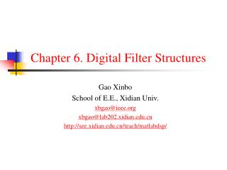 Chapter 6. Digital Filter Structures