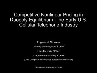 Competitive Nonlinear Pricing in Duopoly Equilibrium: The Early U.S. Cellular Telephone Industry