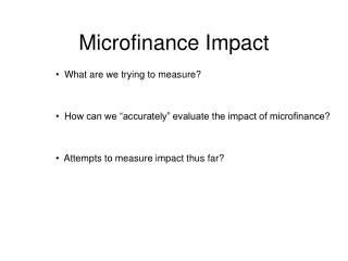 Microfinance Impact
