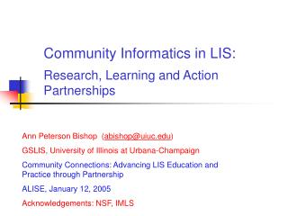 Community Informatics in LIS: Research, Learning and Action Partnerships