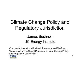 Climate Change Policy and Regulatory Jurisdiction