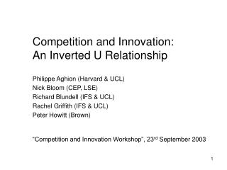 Competition and Innovation: An Inverted U Relationship
