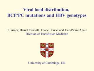 Viral load distribution,  BCP/PC mutations and HBV genotypes