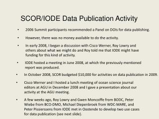 SCOR/IODE Data Publication Activity